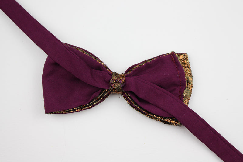 Kolkata | Satin Copper and Purple | Pre-tied Bowtie.
