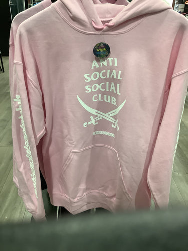 Anti Social  Club Neighborhood Collection Pink Hoodie