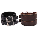 Banded Leather Cuff Wristband