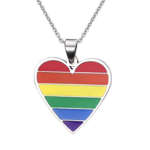 Gay Pride Rainbow Heart Pendant