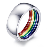 Gay Pride Stainless Steel Ring