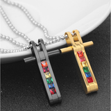 Rainbow Cross Pendant Necklace