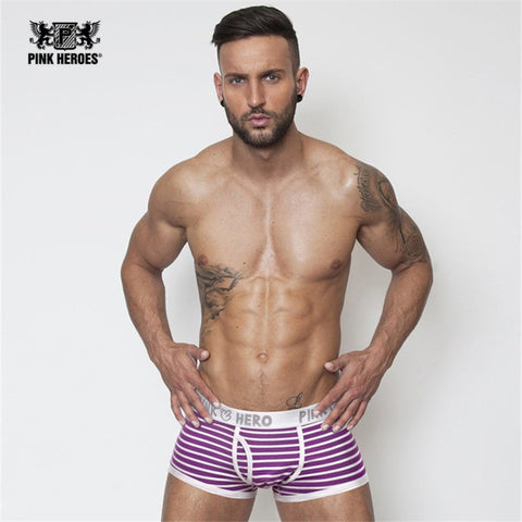Pink Hero Striped Boxer Brief
