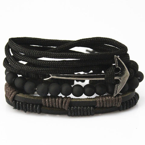 Black Anchor Multilayer Wrap Bracelet
