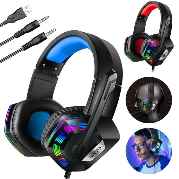 Black & Blue Hue Bass Booster Gaming Headset