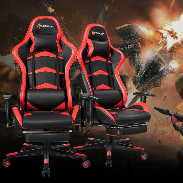 Massage Gaming Chair with lumber & Footrest
