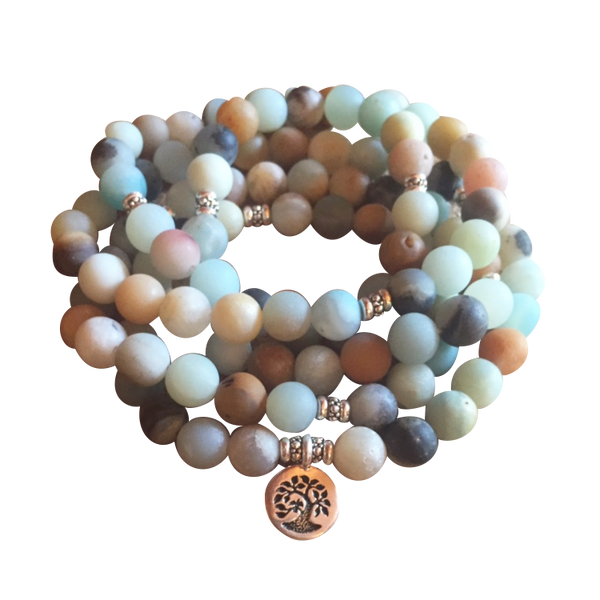 Natural Amazonite River Stone Mala