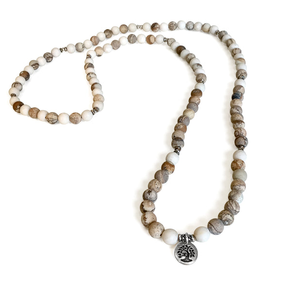 Jasper Fossil Tree of Life Mala