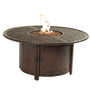English Garden Round Fire Pit Coffee Table