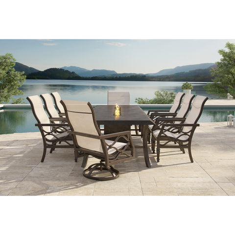 Villa Bianca Nine Piece Sling Dining Set