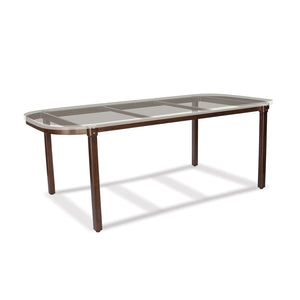 Classic Rectangle Dining Table Base with Mahogany Cast Limestone Rectangle Table Top