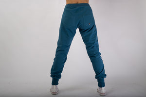 PANTALONE FELPA FRENCH TERRY BLU PETROLIO