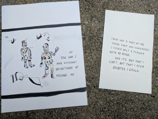 YOU AND I HAVE DIFFERENT DEFINITIONS OF FRIENDS – drawing set + book –Sam Pink - ArtWeAre Original Art