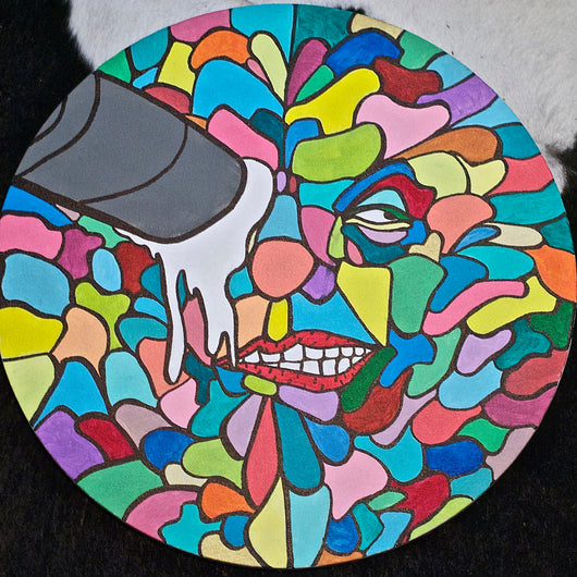 Cigarette Butt Face (1 of 1) Acrylic on Round Canvas – Eugene.Art - ArtWeAre Original Art
