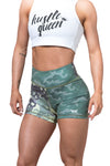 WOMEN'S HIGH WAISTED CAMO SHORT SHORTS