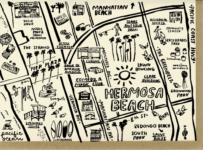 Hermosa Beach Map Card - C4517