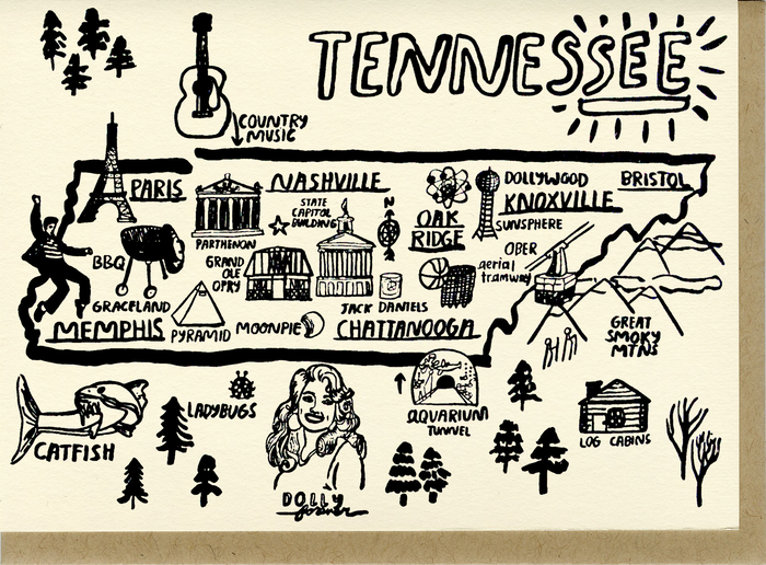 Tennessee Map Card - C4515