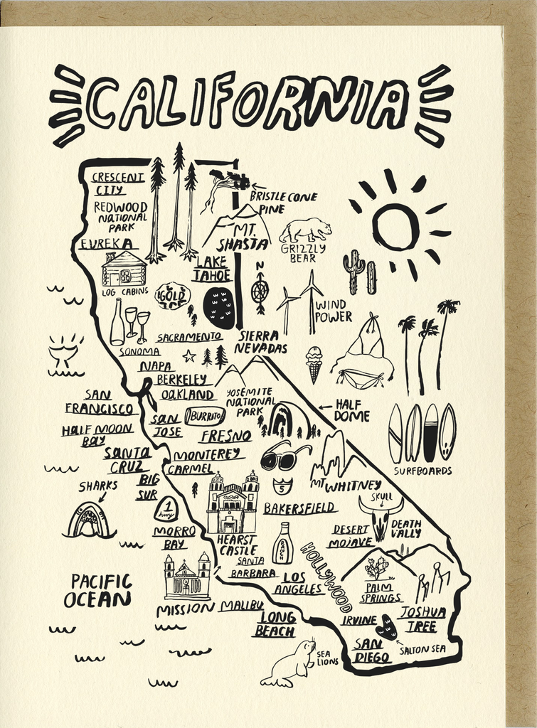 Hearst Castle California Map.California Map Card C4501 People I Ve Loved