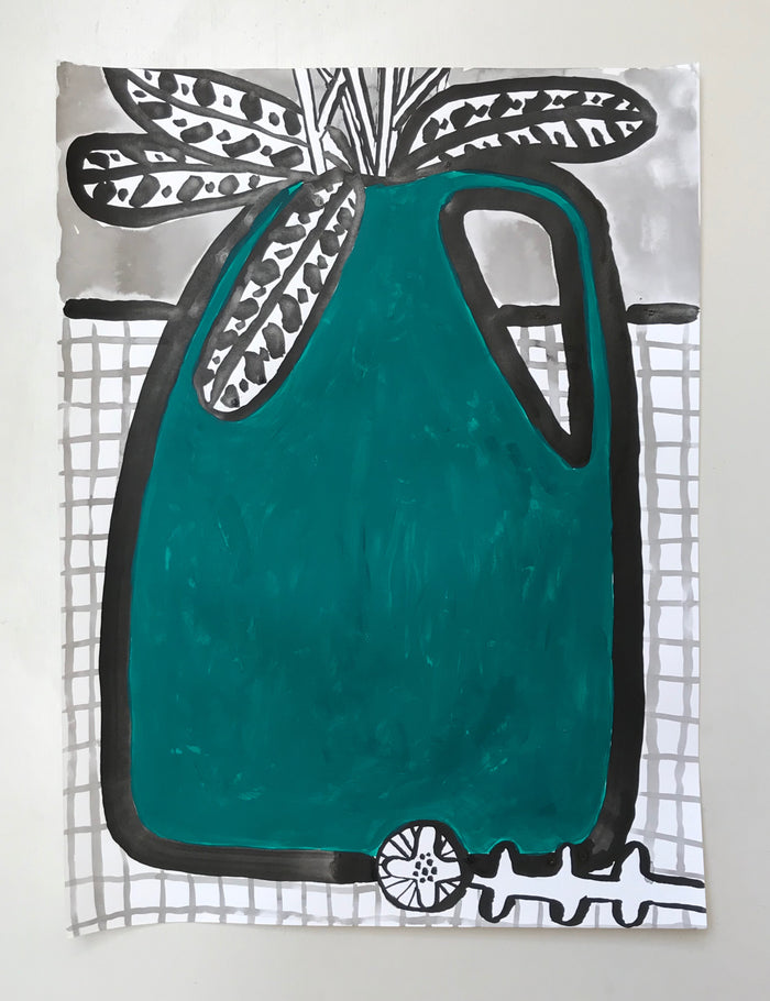 Original Painting - Dark Green Vase