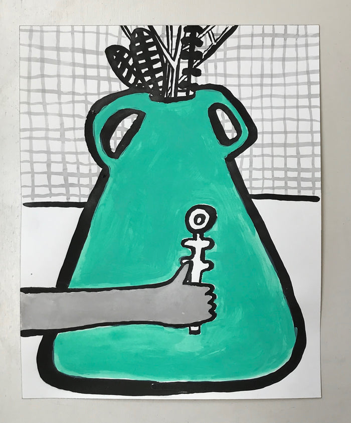 Original Painting - Green Vase with arm