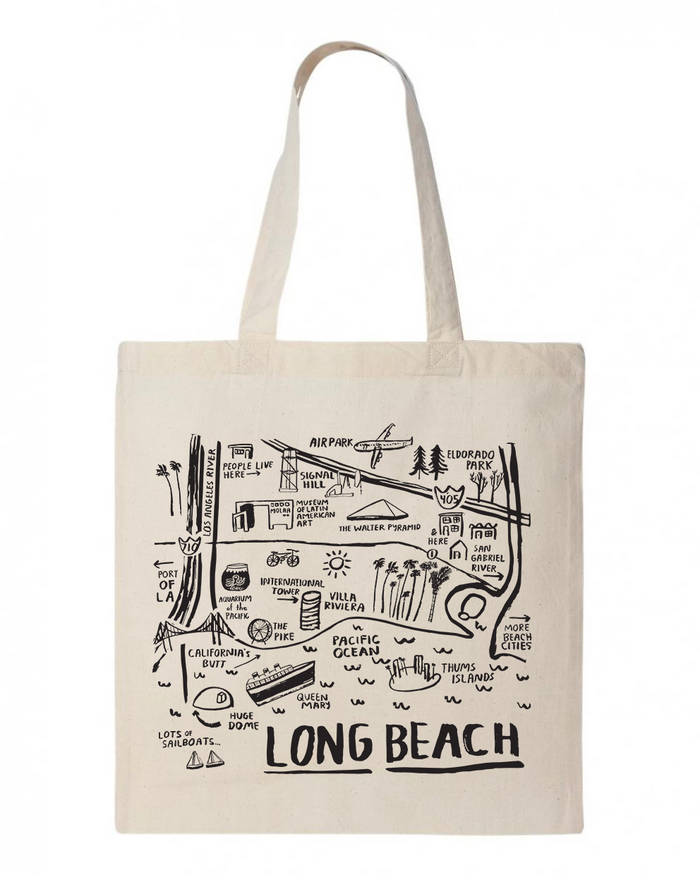 Long Beach Map Tote - T8721