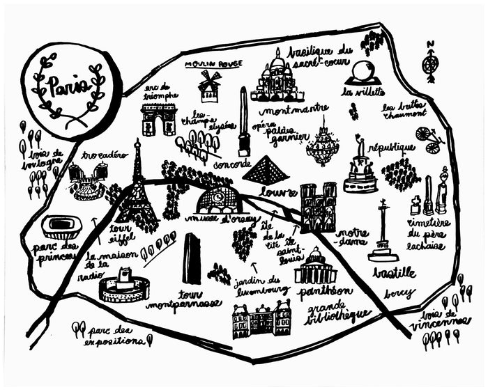 Paris Map Print - P9001