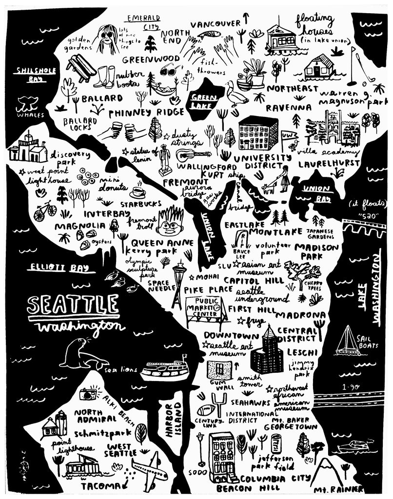 Seattle Map Print - P9344
