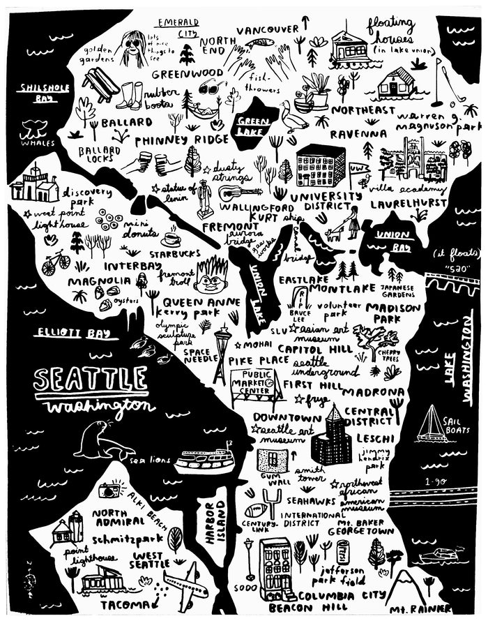 Seattle Map Print - P9542