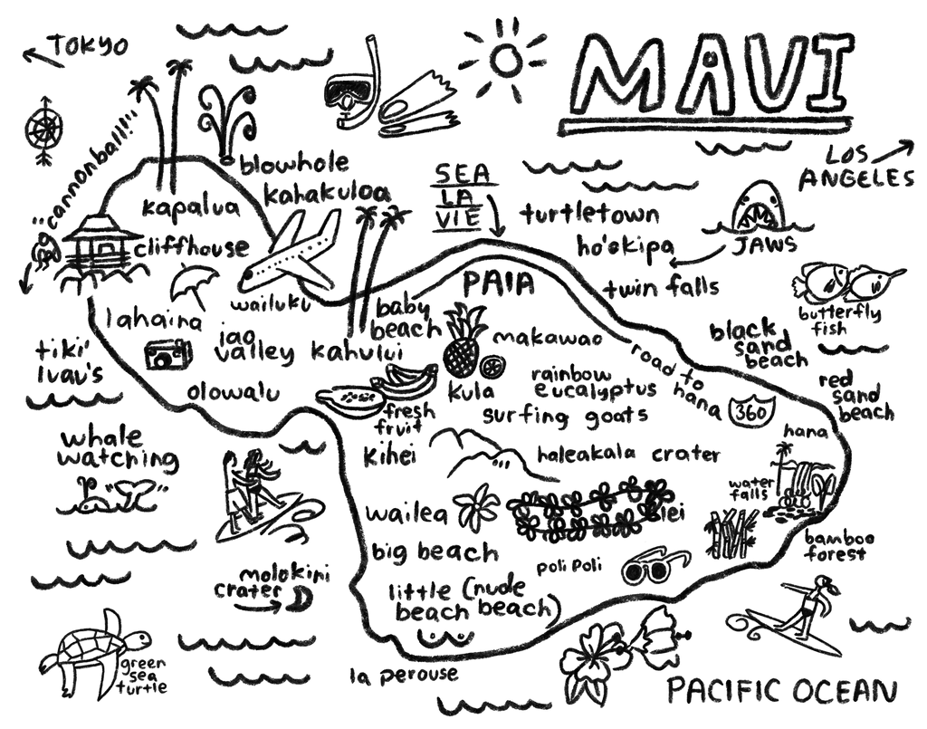 photograph about Printable Map of Maui titled Maui Map Print - P9551