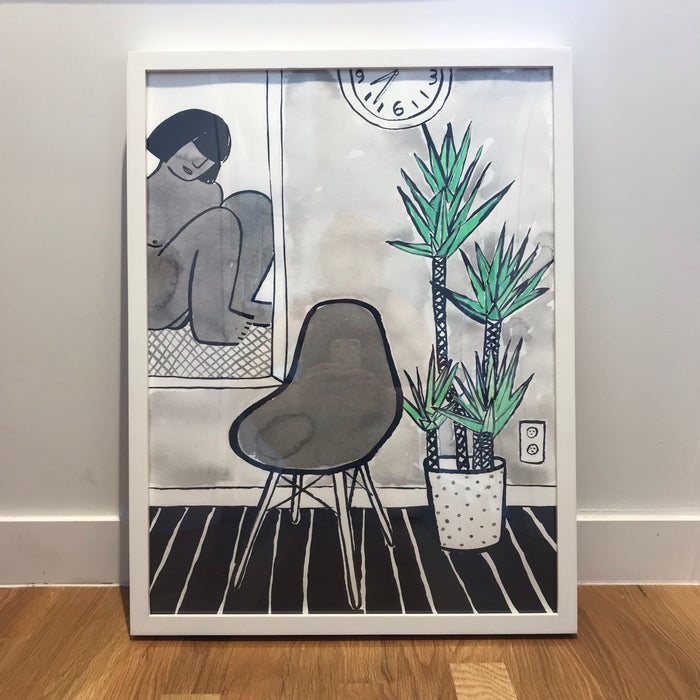 Original Painting - Lady in mirror with plant in bedroom