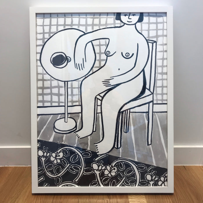 Original Painting - Naked breakfast with rug
