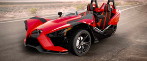 Red Polaris Slingshot 4 Hour Rental  $199 (manual transmission, backup camera, radio, bluetooth, & optional roof cover)