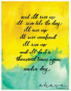 Rise Up, Andra Day Quote, Watercolor Art Print