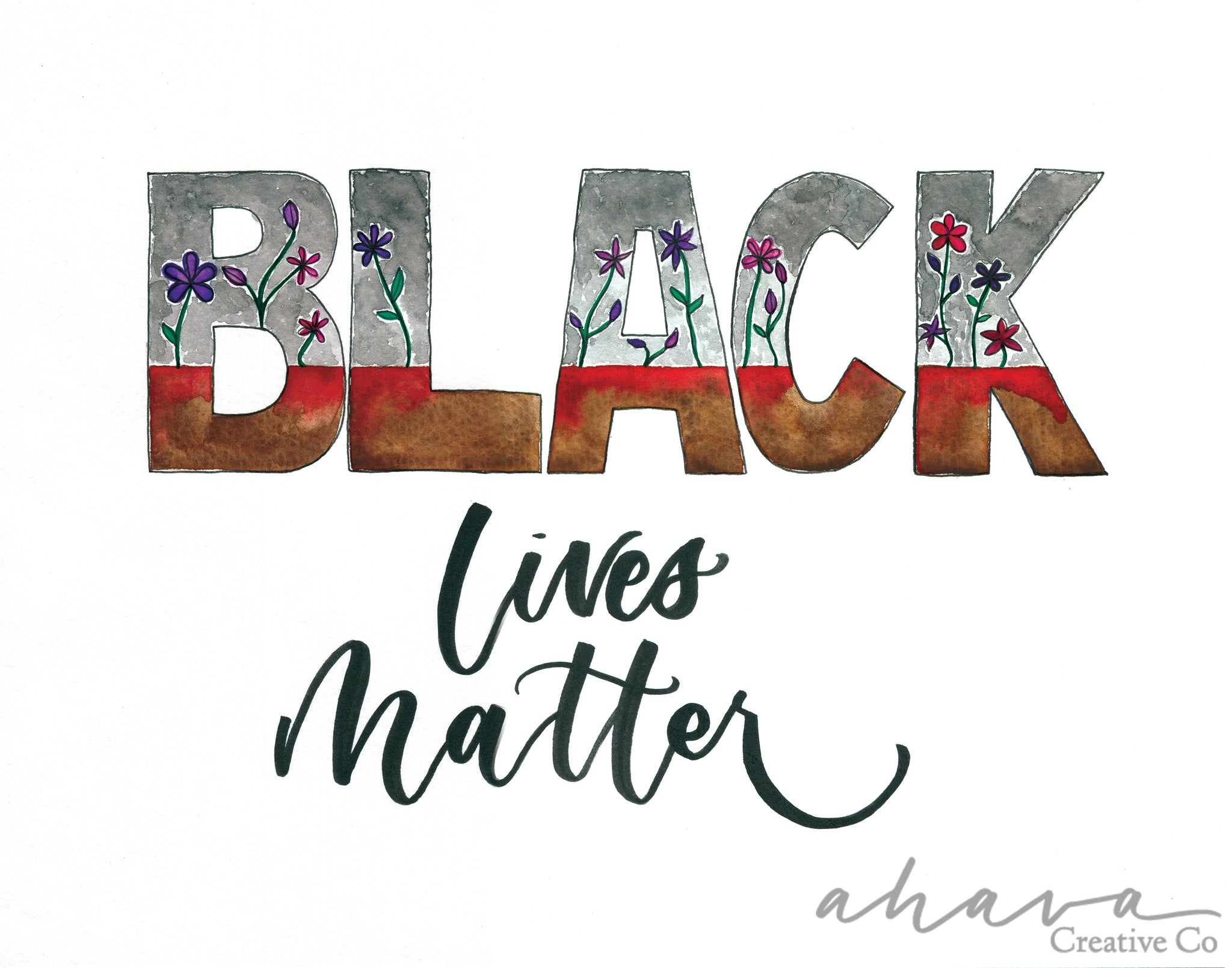 Black Lives Matter Art Print With Flowers, 11x14""