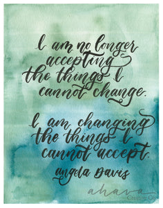 No Longer Accepting, Angela Davis Quote, Watercolor Art Print