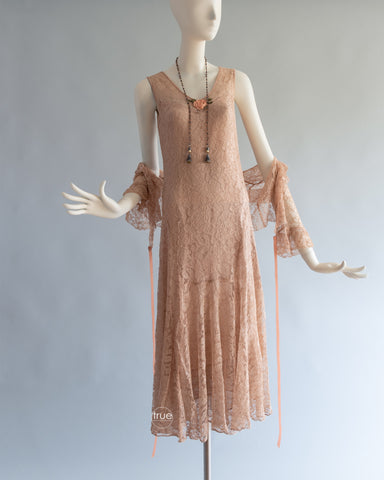 vintage 1920's - 1930's dress ...lovely nude/taupe-ish lace dress with silk flounced slip & jacket