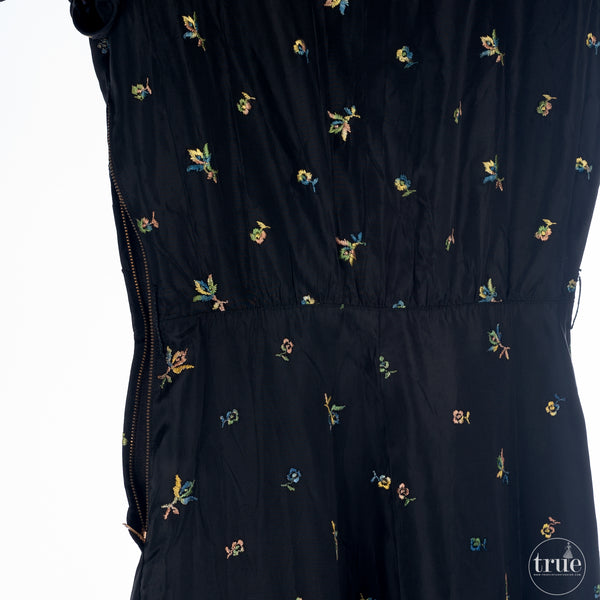vintage 1930's dress ...black floral embroidered maxi dress with princess sleeves