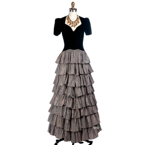 1930's black velvet & taffeta layers dress