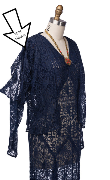 vintage 1930's dress ...gorgeous blue lace long dress with slip sleeve jacket