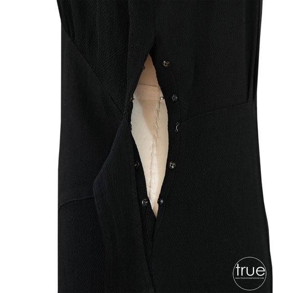 1930's black crepe Paul Sergeñt dress