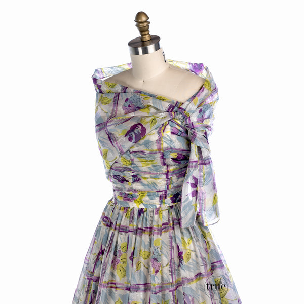 1940's watercolor floral dress with attached shawl