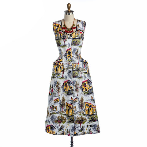 vintage novelty print dress