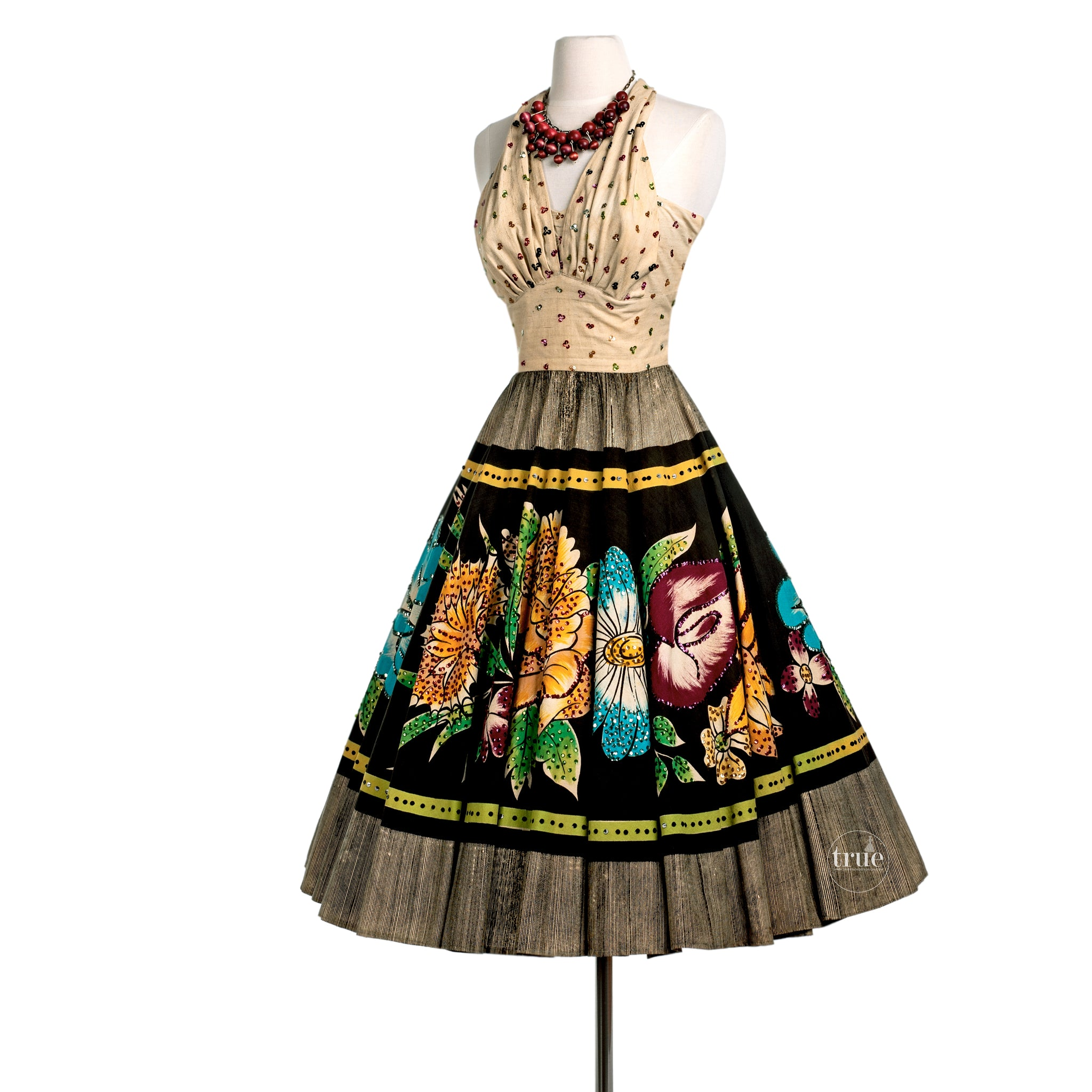 vintage 1940's mexican dress