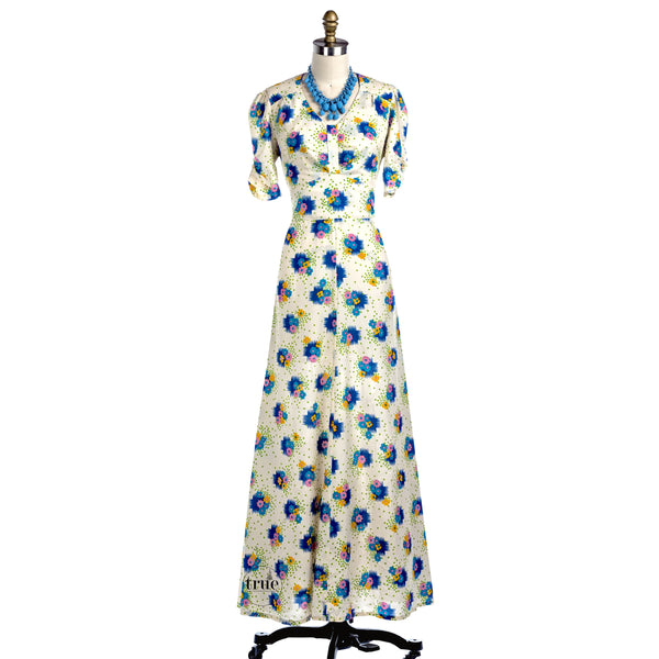 1940's floral novelty print maxi dress