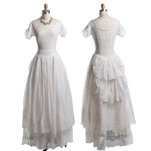 vintage 1930's dress ...ethereal double layer eyelet cutwork organdy dress with bustle back