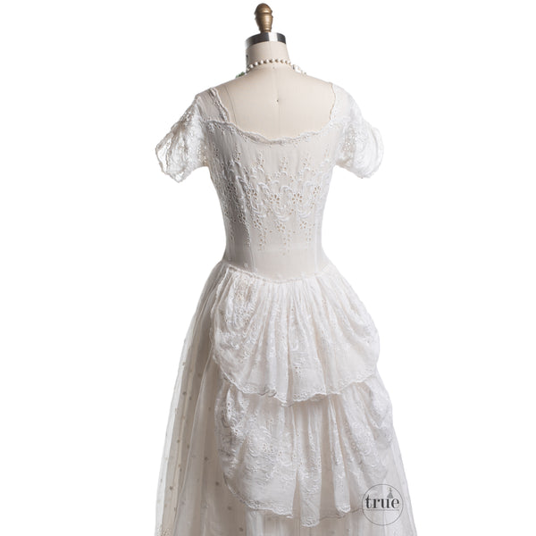 1930's eyelet cutwork organdy dress with bustle back