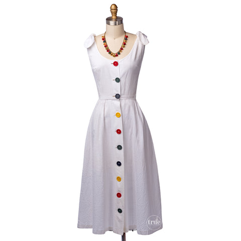 vintage 1940's dress ...a rainbow of Big Buttons on white cotton lattice piqué with tie shoulders