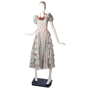 vintage 1940's dress ...best centennial cotton calico tiered midi dress