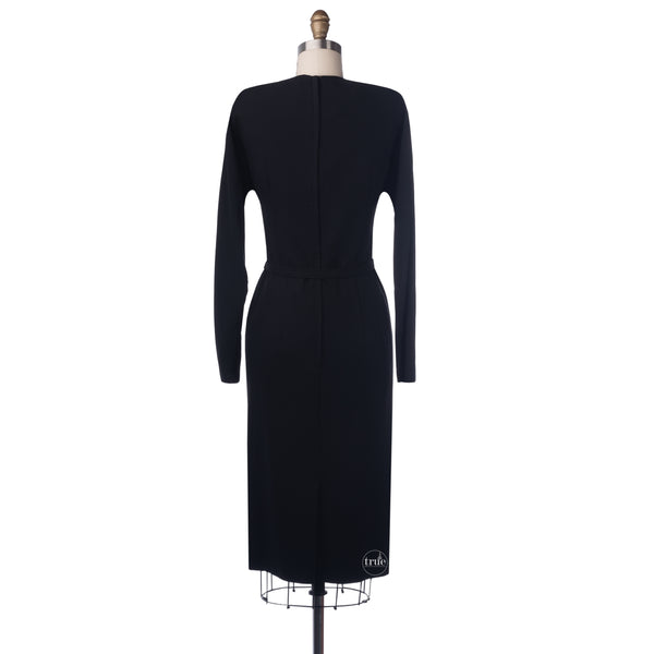reserved 1950's black crepe deco draped wiggle dress