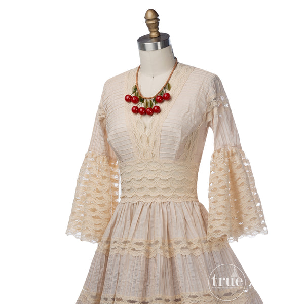 vintage 1940's dress ...classic Mexican pintucks and lace nude cotton full skirt dress
